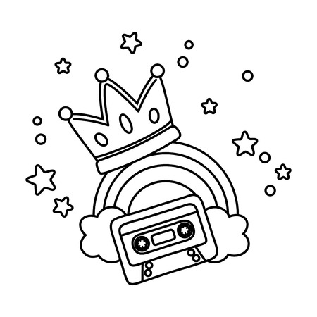 cassette with crown and rainbow icon cartoon black and white vector illustration graphic design