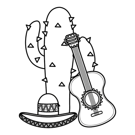 cactus plant with mexican hat and guitar vector illustration design