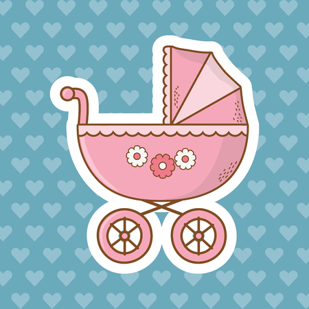cute baby shower element carriage cartoon vector illustration graphic design