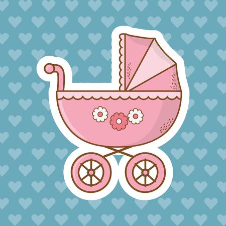 Diseño gráfico lindo del ejemplo del vector de la historieta del carro del elemento de la ducha del bebé