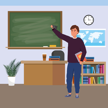 Millennial student man holding book using smartphone indoors classroom background with blackboard map clock and bookstand vector illustration graphic design