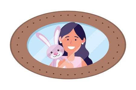 girl with bunny toy avatar cartoon character photo frame vector illustration graphic design