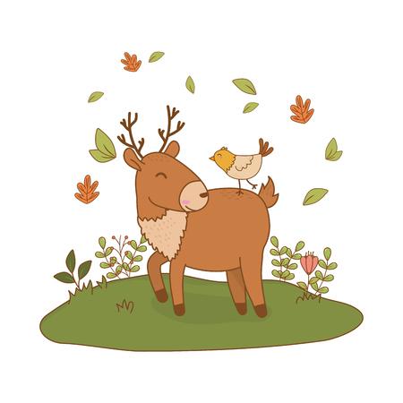 cute reindeer with bird in the field woodland characters vector illustration design Foto de archivo - 122421353