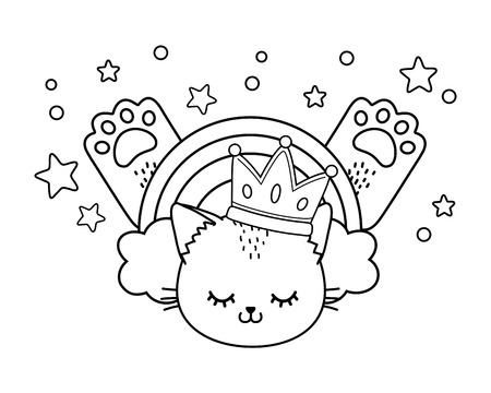 cat with crown rainbow and paws icon cartoon black and white vector illustration graphic design