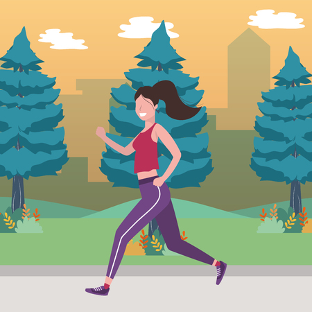 fitness sport train woman running outdoor scene cartoon vector illustration graphic design 矢量图像