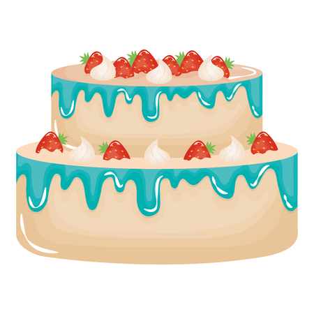 delicious sweet cake with strawberries vector illustration design