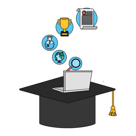 education elements graduation hat cartoon vector illustration graphic design Illustration