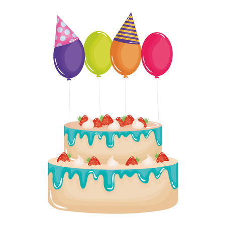 delicious sweet cake with strawberries and balloons helium vector illustration design