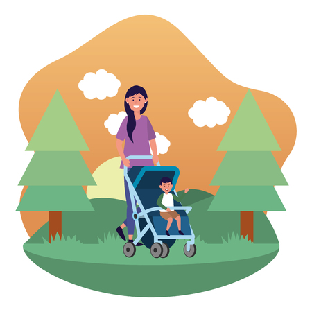 mother with baby carriage avatar cartoon character park landscape vector illustration graphic design