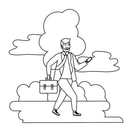 Millennial person stylish bearded outfit in business suit and briefcase with smartphone texting nature background black and white vector illustration graphic design