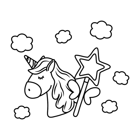 unicorn and magic wand icon cartoon black and white vector illustration graphic design