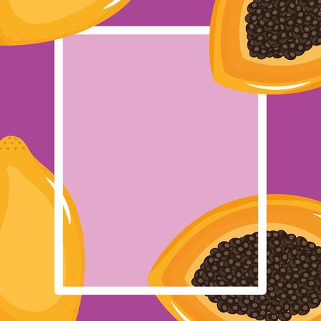fresh papaya square frame vector illustration design Ilustração Vetorial