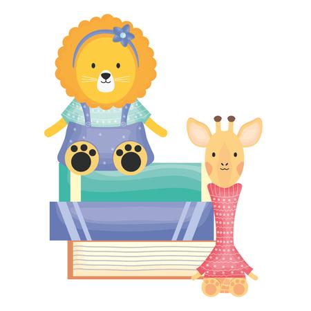 cute female lioness with giraffe and books vector illustration design Stock Illustratie