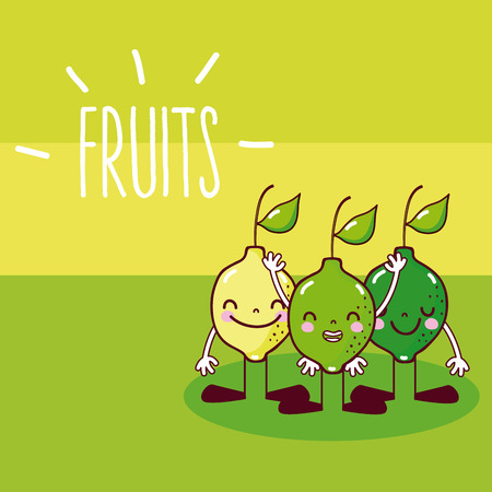 Cute and funny lemons friends cartoons vector illustration graphic design