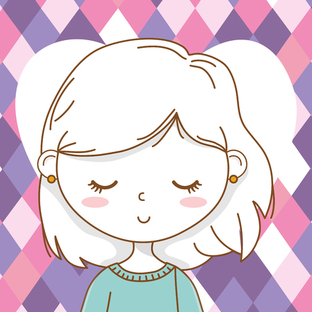 Cute girl cartoon stylish hairstyle nice outfit clothes blushing sweater skirt portrait heart purple checkered background vector illustration graphic design