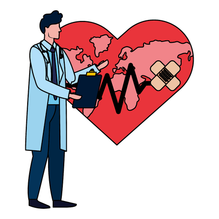 healthcare medical doctor man with saving world map heart icon cartoon vector illustration graphic design