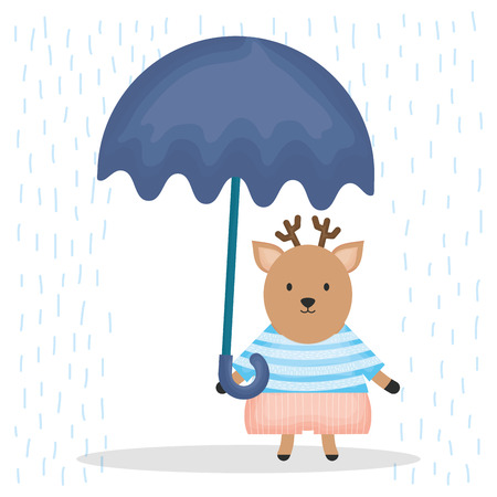 cute reindeer with umbrella character vector illustration design