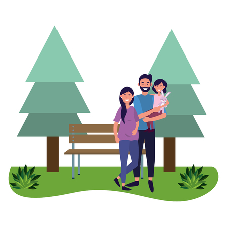 couple with child avatar cartoon character park landscape vector illustration graphic design