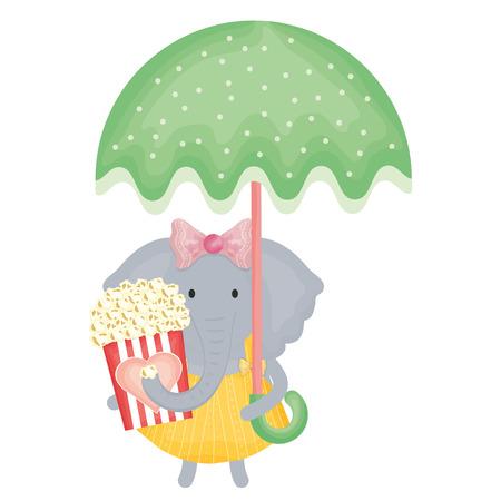 cute female elephant with umbrella and pop corn vector illustration design