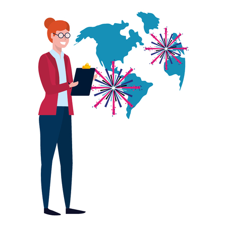 elegant woman with world map and fireworks cartoon vector illustration graphic design