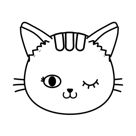 cat face wink eye icon cartoon black and white vector illustration graphic design