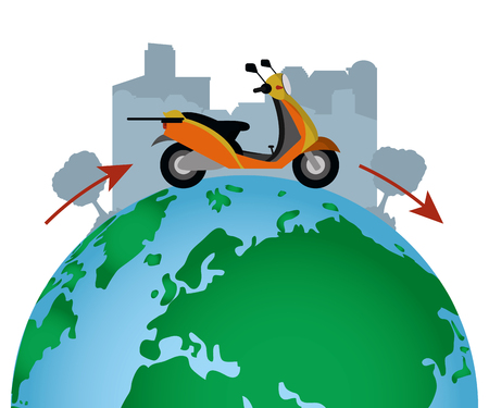 worldwide delivery service order scooter on world vector illustration graphic design