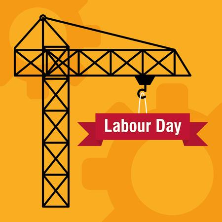 crane tower construction labour day vector illustration design