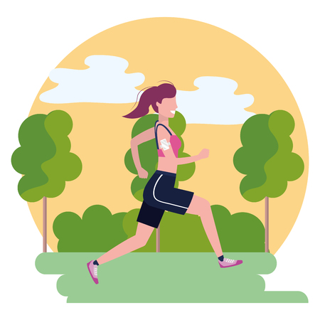 woman running with sportswear avatar cartoon character park landscape vector illustration graphic design Ilustrace