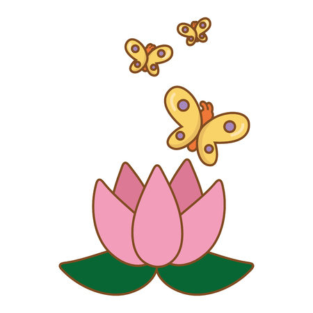 blossom and buttlerfly icon cartoon vector illustration graphic design