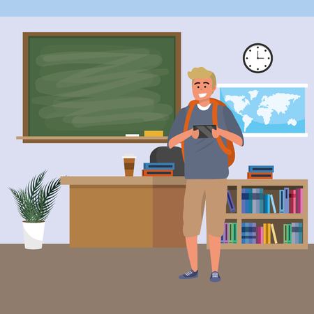 Millennial student using blonde man wearing shorts smartphone indoors classroom background with blackboard map clock and bookstand vector illustration graphic design Ilustracja