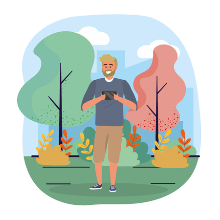 funny man with smartphone technology and trees Stock Illustratie