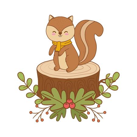 Cute ardilla en el tronco del bosque ilustración Vectorial character design