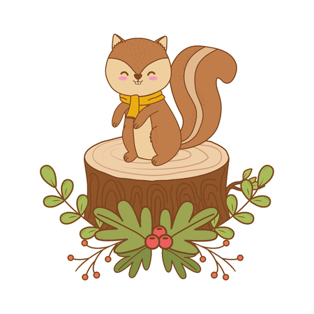cute chipmunk in trunk woodland character vector illustration design