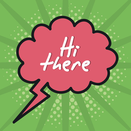speech bubble with hi there message vector illustration design