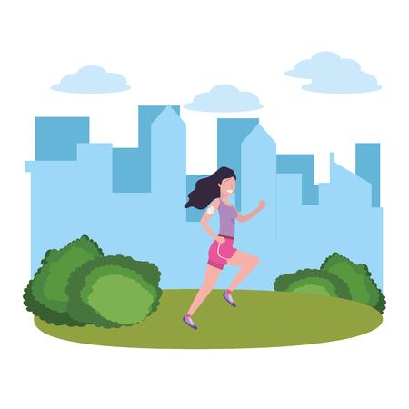 Fitness deporte tren mujer corriendo escena al aire libre dibujos animados ilustración vectorial diseño gráfico