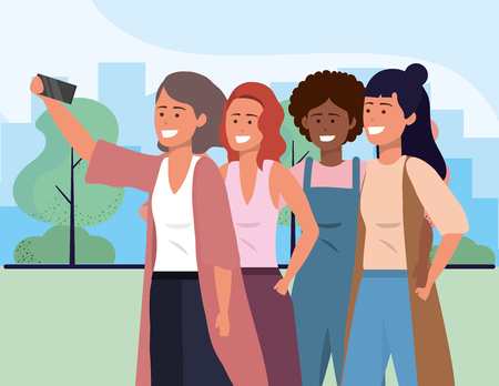 Millenial diverse group taking selfie smiling happy together wearing sweaters overalls afro and vest outdoors cityscape nature background vector illustration graphic design