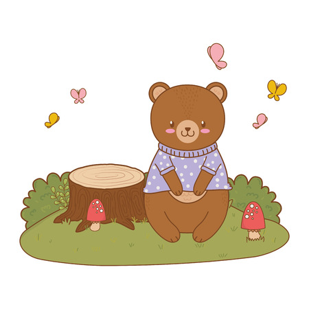 cute bear in the field woodland character vector illustration design