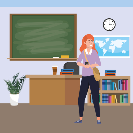 Millennial student redhead wearing sweater using smartphone indoors classroom background with blackboard map clock and bookstand vector illustration graphic design Ilustracja
