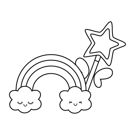 magic wand with cloud and rainbow icon cartoon black and white vector illustration graphic design Illustration