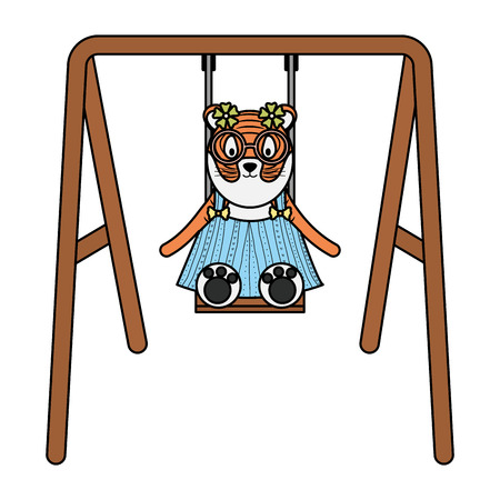 cute female tiger in swing character vector illustration design