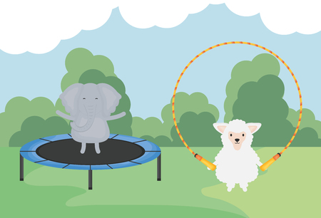 cute elephant and sheep childish character vector illustration design