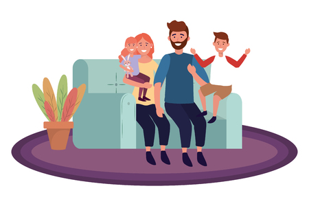 couple with children avatar cartoon character sitting on a couch vector illustration graphic design
