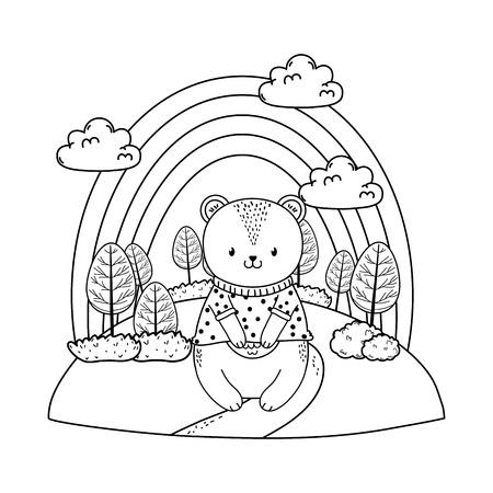 cute bear in the field woodland character vector illustration design Foto de archivo - 122422012