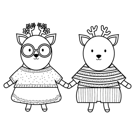 cute reindeer couple childish characters vector illustration design