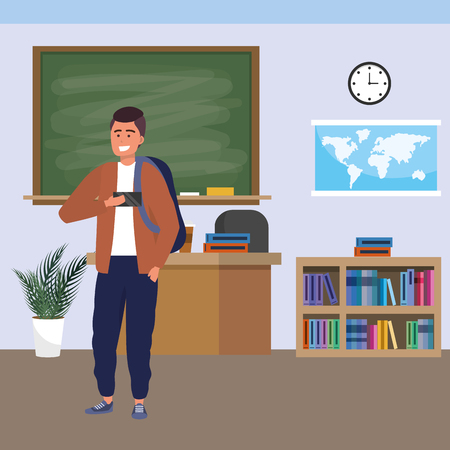 Millennial student man wearing jacket and backpack using smartphone indoors classroom background with blackboard map clock and bookstand vector illustration graphic design