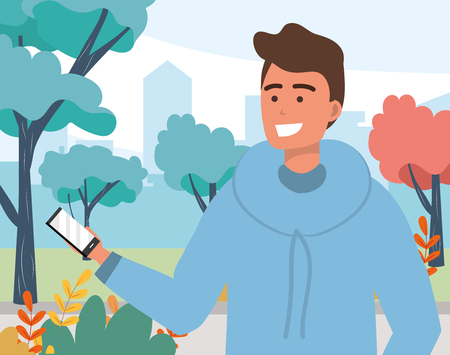 Millennial young person using smartphone browsing social media browsing texting hoodie portrait nature background park trees vector illustration graphic design