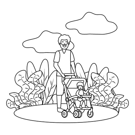 father with baby carriage avatar cartoon character park landscape vector illustration graphic design Illustration