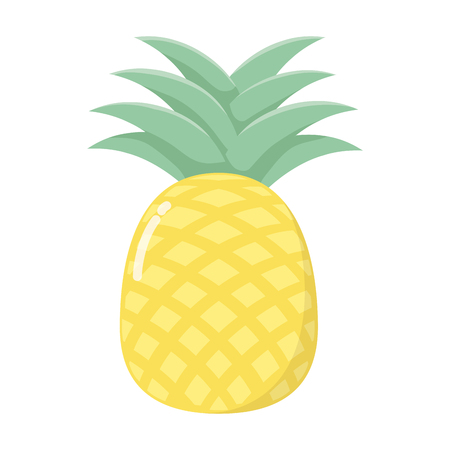 delicious tasty food fruit pineapple cartoon vector illustration graphic design Illustration