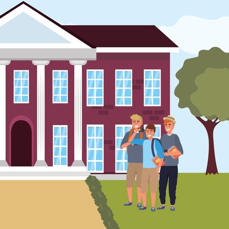 Millennial students group blond and redhead men using smartphone taking selfie on campus background vector illustration graphic design