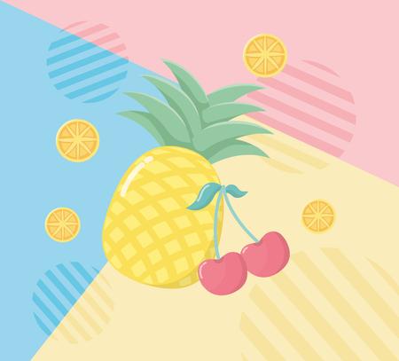fresh pineapple, cherry and orange fruits Stok Fotoğraf - 122273920